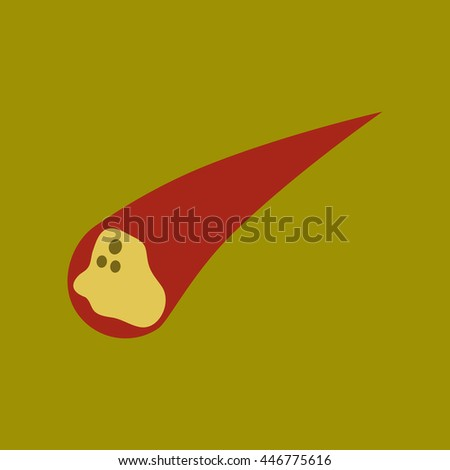flat icon on stylish background falling meteorite - stock vector