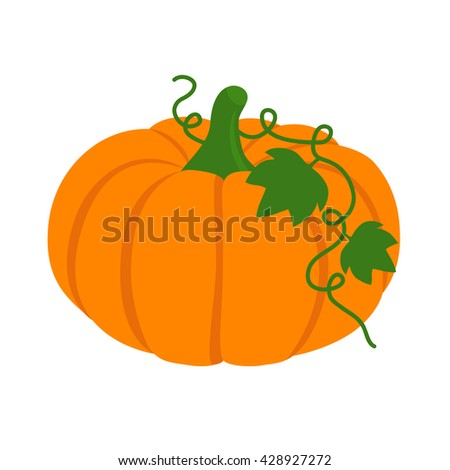 Flat icon pumpkin with leaves. Vector illustration. - stock vector