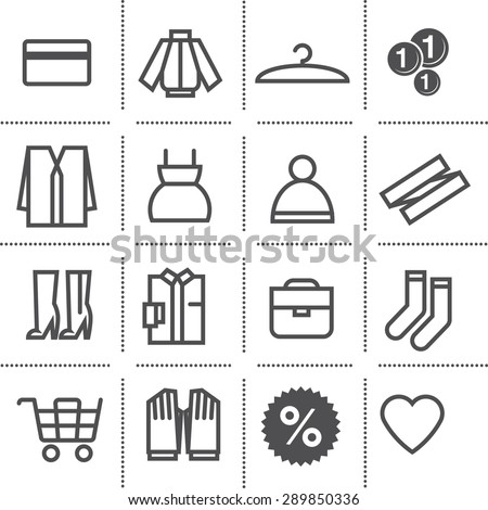 flat icon set: department store - stock vector