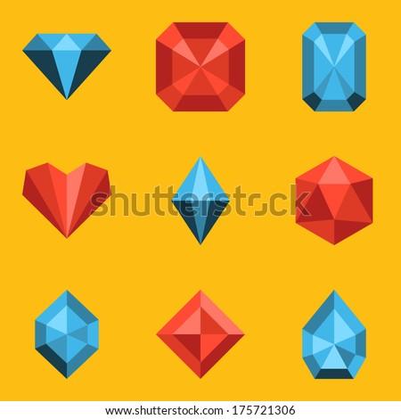 Flat icon set. Diamond - stock vector