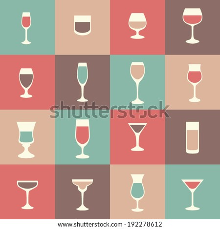 flat icon set drink, cocktail, vector illustration  - stock vector