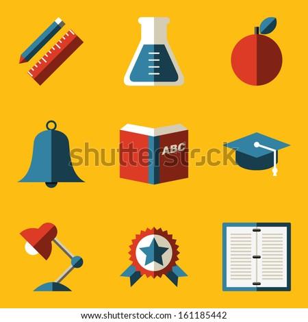 Flat icon set. Education - stock vector