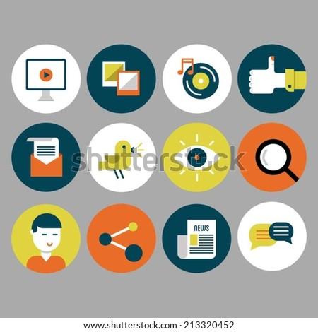 Flat icon set for social media. - stock vector