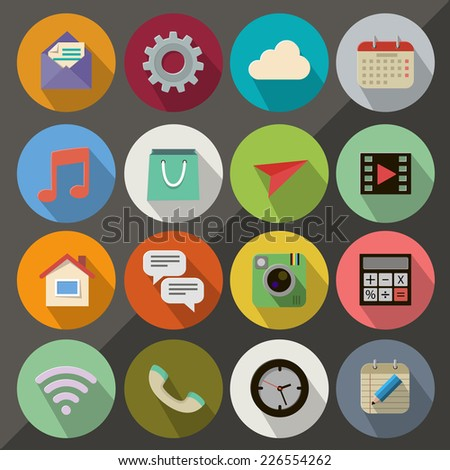 Flat icon set for Web and Mobile App - stock vector