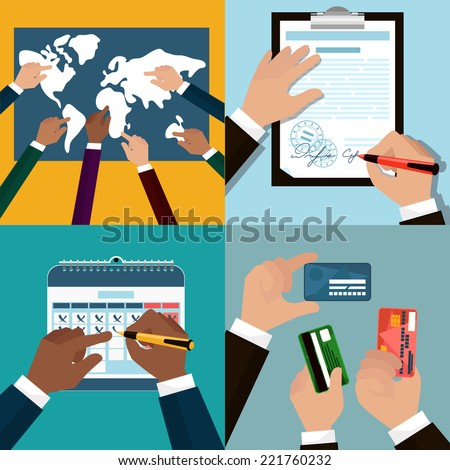Flat icon set of business and bargain processes . Human hands holding credit cards, cutaway, pen. Human hands to show world Map, signs the document, mark on the calendar.?artoon style. Vector EPS10 - stock vector