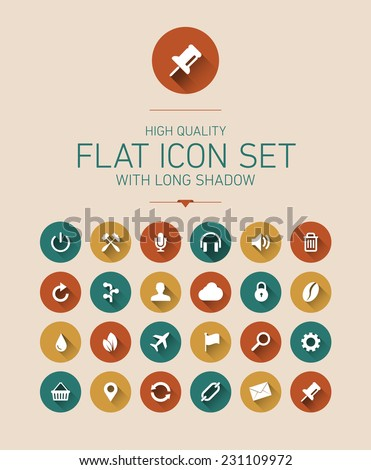 Flat icon set with long shadow - stock vector