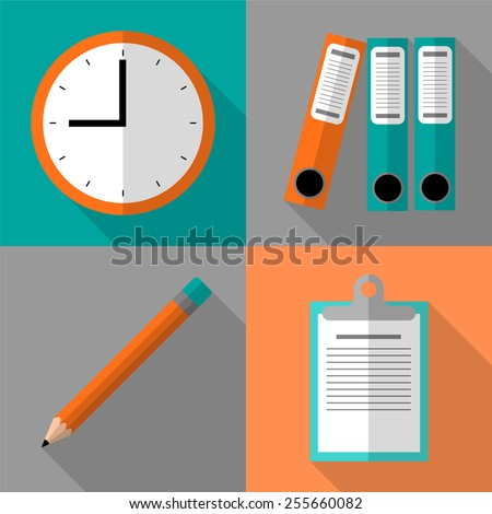 Flat icon set with long shadow effect - stock vector