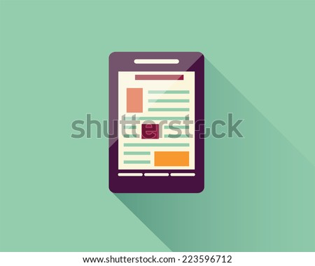 Flat icon smart phone, electronic device, responsive web design, infographic elements, vector illustration - stock vector