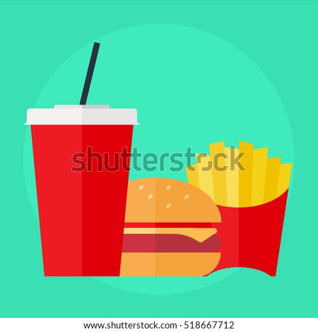 flat icon take away set, cola with burger and fries