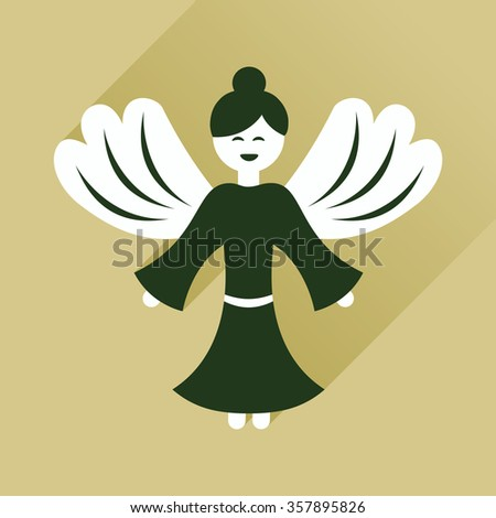 Flat icon with long shadow Christmas angel - stock vector