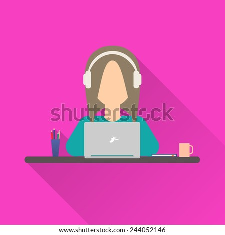 Flat icon woman. Woman working at a laptop with headphones sitting at her desk - stock vector