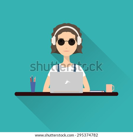Flat icon woman. Woman working at a laptop with headphones sitting at her desk. Stock vector.  - stock vector