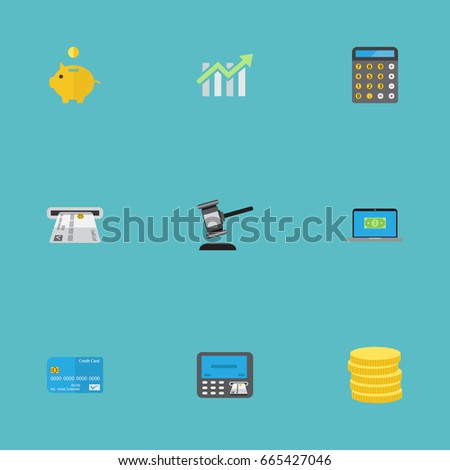 Flat Icons Accounting, Small Change, Payment And Other Vector Elements. Set Of Banking Flat Icons Symbols Also Includes Savings, Notebook, Small Objects.