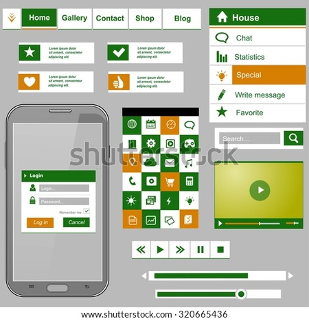 Flat icons and ui web elements for mobile app and website design  - stock vector