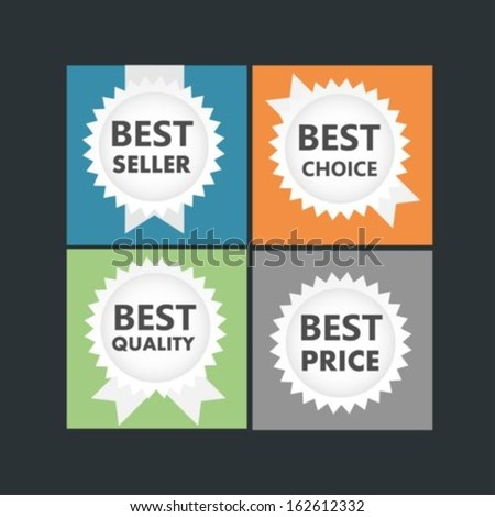 Flat icons best seller,best price,best choice and best quality - stock vector