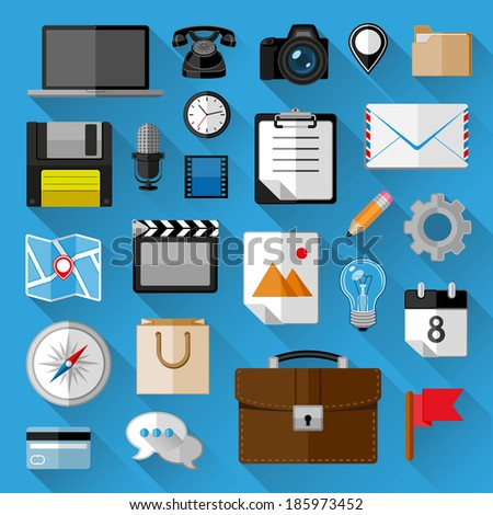 Flat icons bundle. Business concept. Vector illustration.  - stock vector