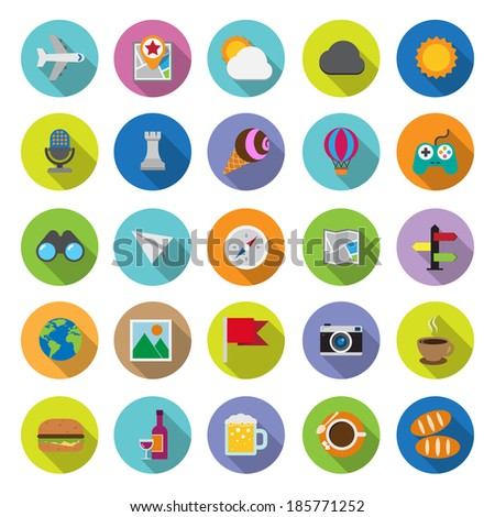 flat icons collection with long shadow . Set 5. Travel & entertainment. Elements of this image furnished by NASA - stock vector