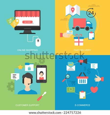 Flat icons design for online shopping, fast delivery, customer support and e-commerce - stock vector