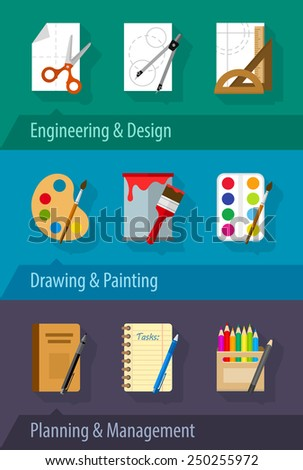 Flat icons engineering design art planning and management. Eps10 vector illustration - stock vector