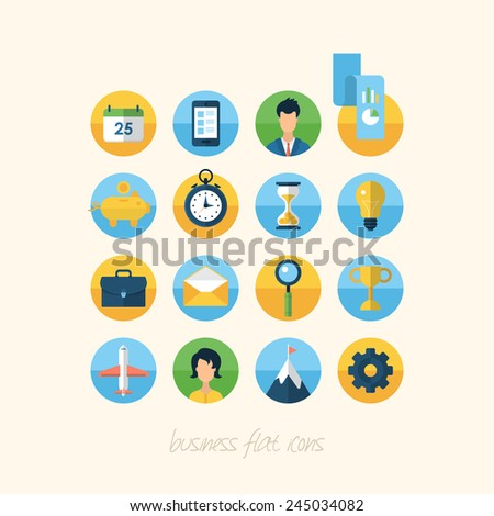 Flat icons for business and management concept - stock vector