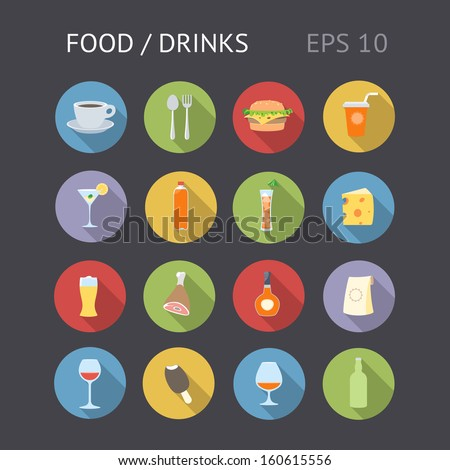 Flat icons for food and drinks. Vector eps10 contains objects with transparency. - stock vector