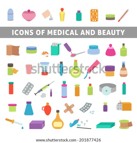 flat icons for medicine and beauty, set medication and cosmetics