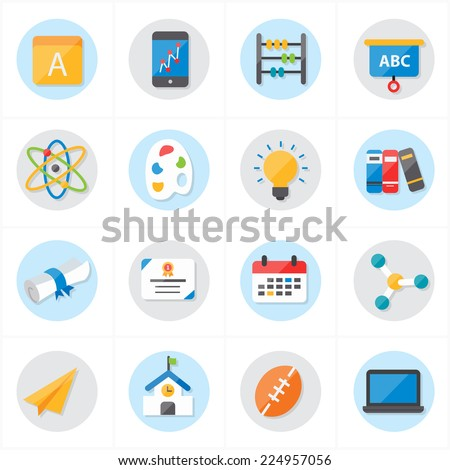 Flat Icons For School Icons and Education Icons Vector Illustration
