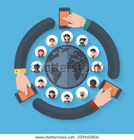Flat icons for social media and global connection concept - stock vector