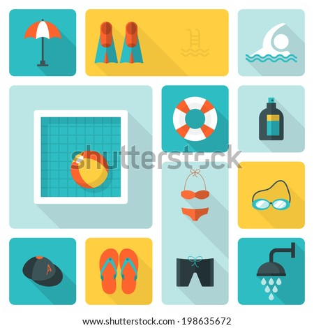 Flat icons for swimming pool activity with long shadow - stock vector