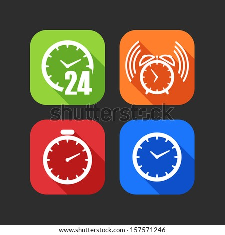 flat icons for web and mobile applications with clocks (flat design with long shadows)  - stock vector