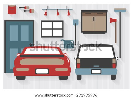 Flat Icons Garage Furniture with Cars and Tools - All Long Shadows on one layer - contains blends  - stock vector