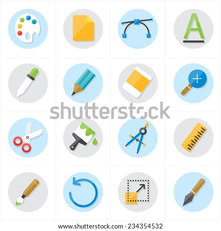 Flat Icons Graphic Design and Creativity Icons Vector Illustration - stock vector