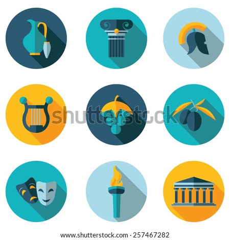 flat icons Greece - stock vector