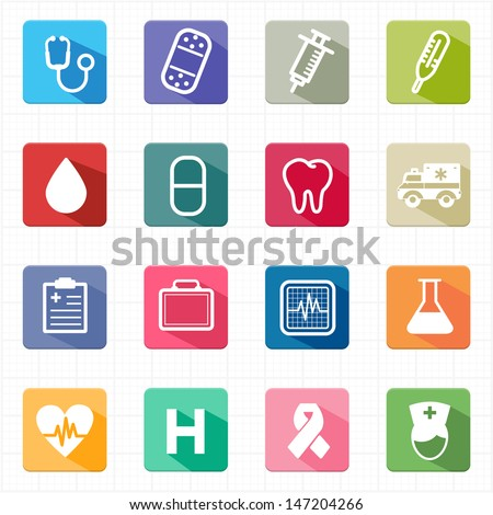 Flat icons healthcare medicine and white background - stock vector