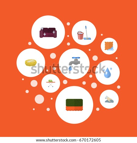 Flat Icons Housekeeping Towel Washcloth Other Stock Vector 670172605