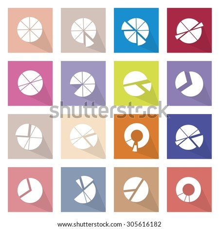 Flat Icons, Illustration Collection of 16 Infographics Elements Business Pie Chart and Graph Icon Labels.