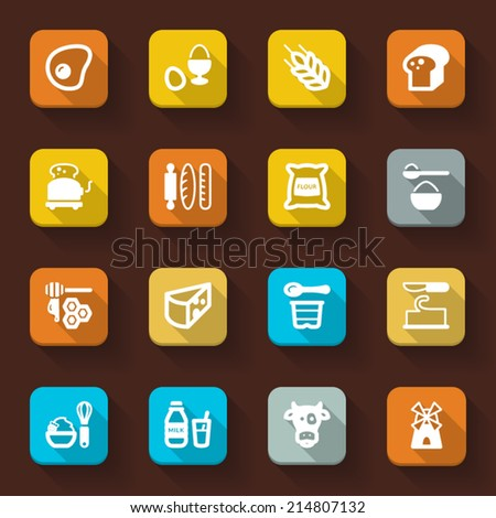 Flat icons in a square with long shadow about dairy products egg sugar and bread - stock vector