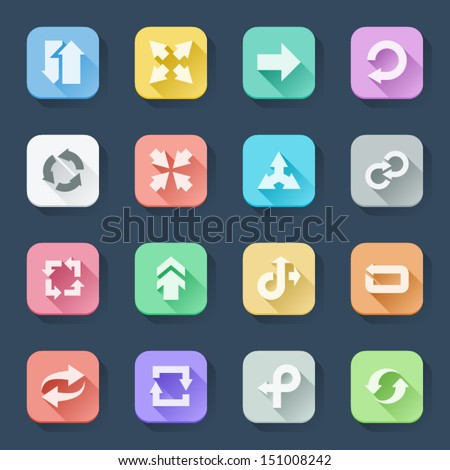 Flat icons in a square with long shadow: Arrows - stock vector