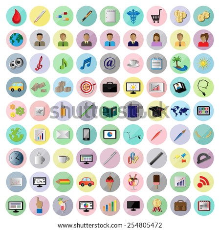 Flat Icons - Isolated On White Background - Vector Illustration, Graphic Design Editable For Your Design - stock vector