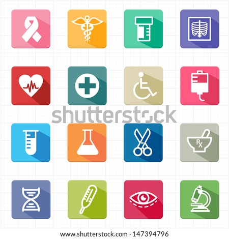 Flat icons medicine healthcare and white background - stock vector