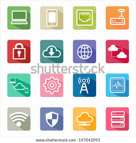Flat icons network cloud computing and white background - stock vector