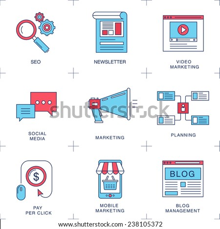 Flat icons of digital marketing, video advertising, social media campaign, newsletter promotion, pay per click service, website seo optimization. Flat design modern vector illustration concept. - stock vector