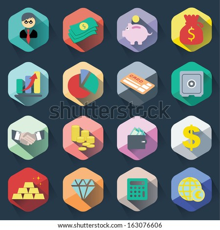 Flat icons of finance & banking - stock vector