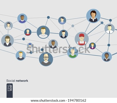 Flat icons of persons for graphic design (vector illustration). Human avatars connected as network in circles for web, social, management, business, internet, computer, mobile apps, infographics - stock vector