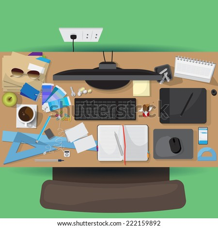 Flat Icons, Office Workplace, Elements for Design Set - Vector Illustration, Graphic Design Editable For Your Design - stock vector