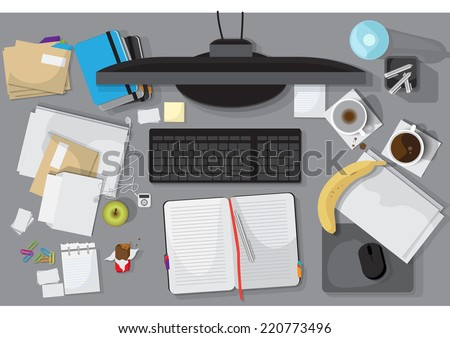 Flat Icons, Office Workplace Set - Vector Illustration, Graphic Design Editable For Your Design - stock vector