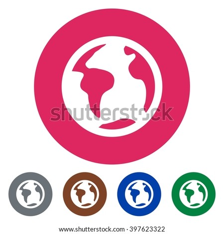 Flat icons planet earth for Web, Mobile and business