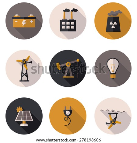 flat icons production of electricity - stock vector