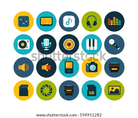 Flat icons set 11 - audio and photo collection