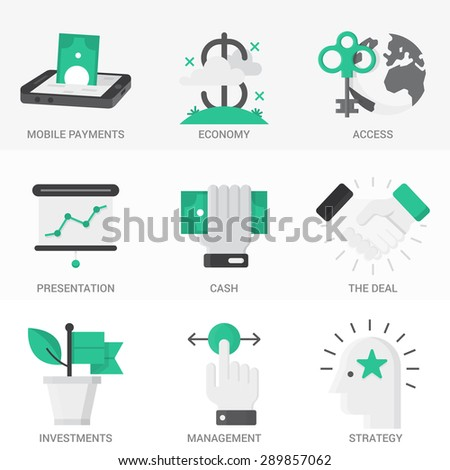 Flat  Icons Set. Business and Finance,Business Agreements, Mobile Banking, Success.Isolated Objects in a Modern Style for Your Design. - stock vector